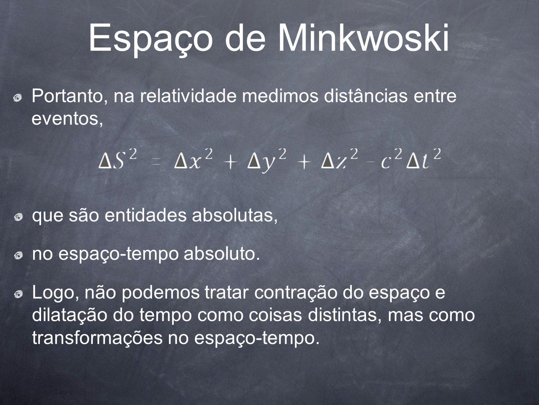 Espaço de MinkwoskiPortanto, na relatividade medimos distâncias entre eventos, que são entidades absolutas,