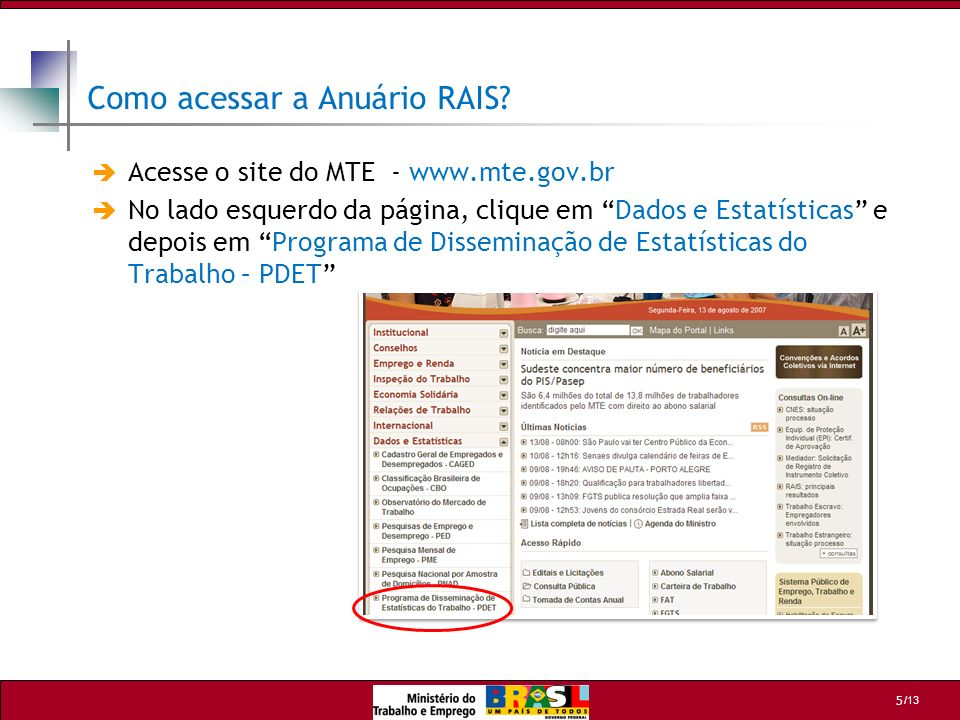 Como acessar a Anuário RAIS