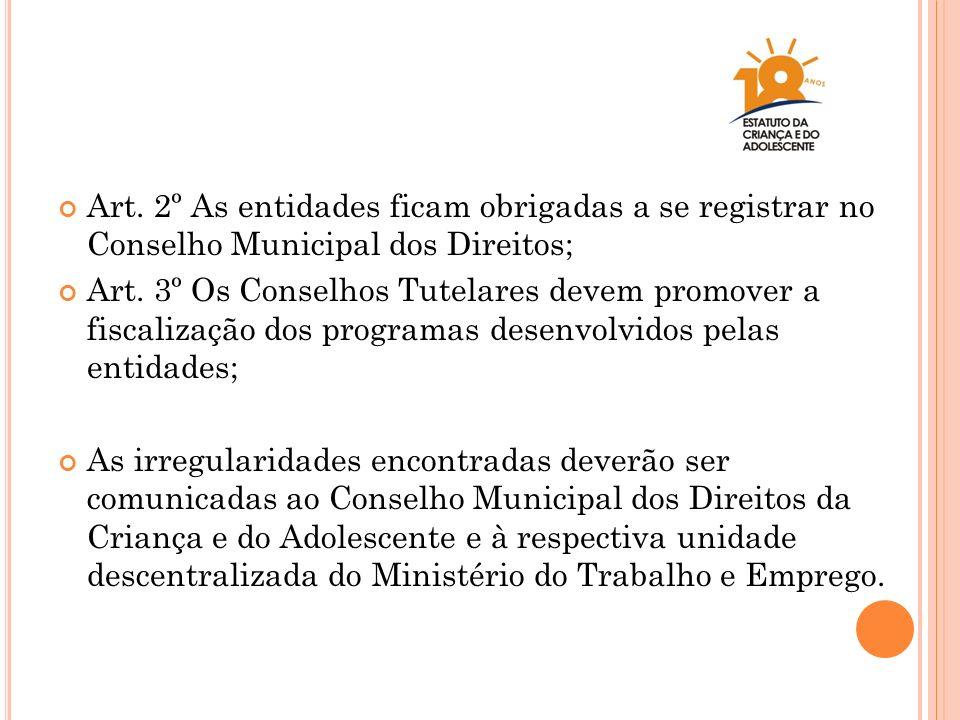 Art. 2º As entidades ficam obrigadas a se registrar no Conselho Municipal dos Direitos;
