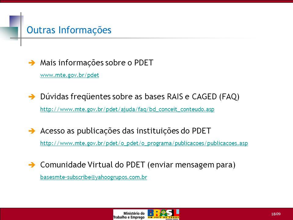Outras Informações Mais informações sobre o PDET www.mte.gov.br/pdet