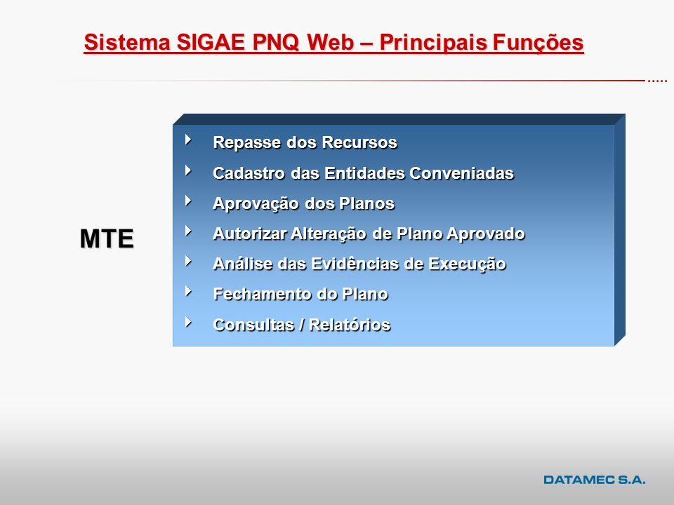MTE Sistema SIGAE PNQ Web – Principais Funções Repasse dos Recursos