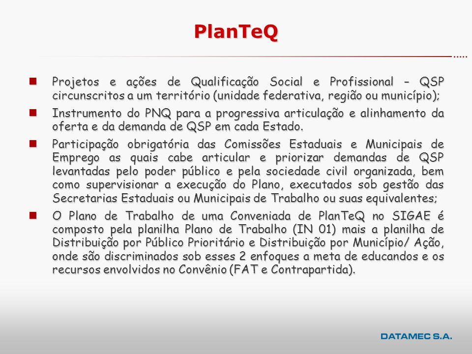PlanTeQ Projetos e ações de Qualificação Social e Profissional – QSP circunscritos a um território (unidade federativa, região ou município);