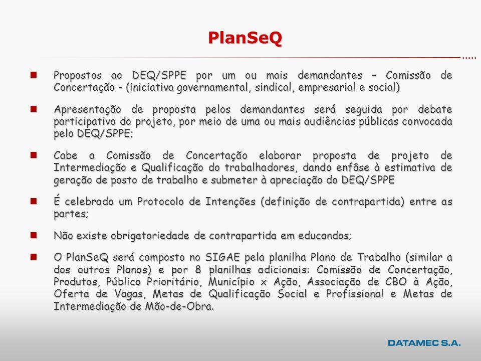 PlanSeQ Propostos ao DEQ/SPPE por um ou mais demandantes – Comissão de Concertação - (iniciativa governamental, sindical, empresarial e social)