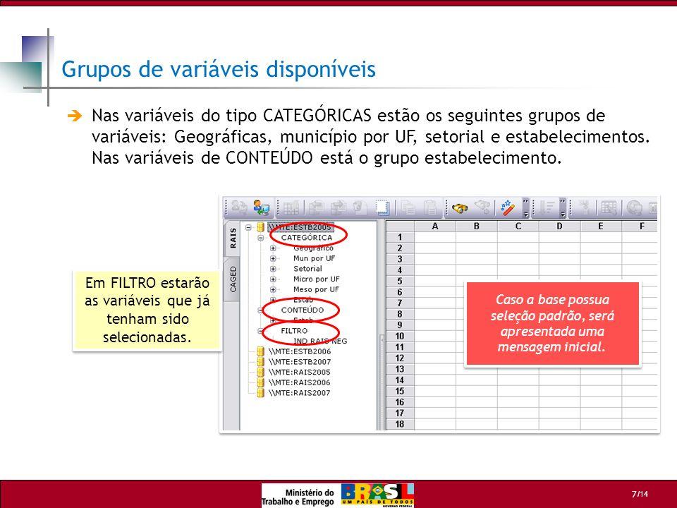 Grupos de variáveis disponíveis