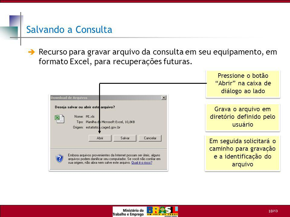 Salvando a Consulta Recurso para gravar arquivo da consulta em seu equipamento, em formato Excel, para recuperações futuras.