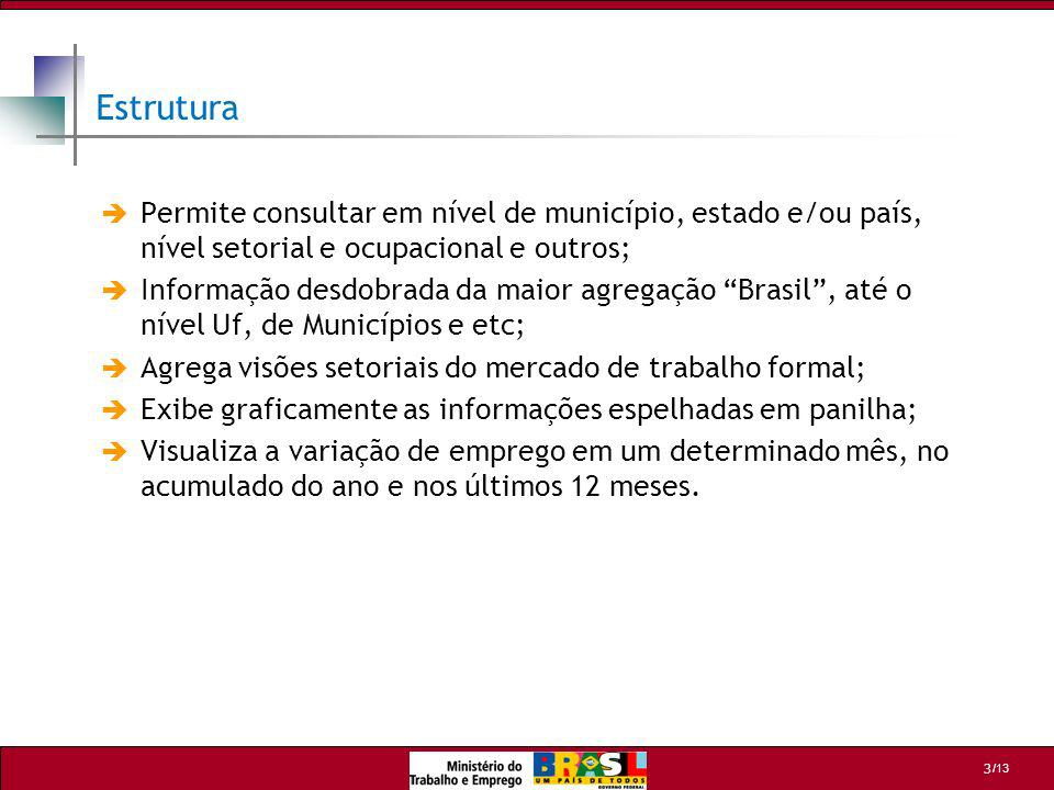 Estrutura Permite consultar em nível de município, estado e/ou país, nível setorial e ocupacional e outros;