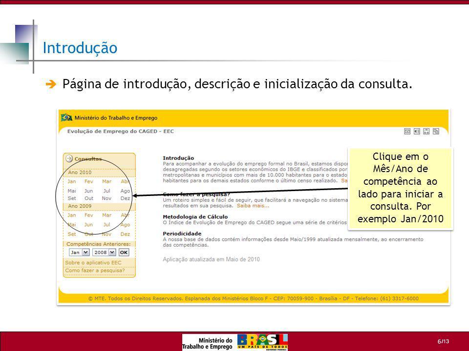 Introdução Página de introdução, descrição e inicialização da consulta.