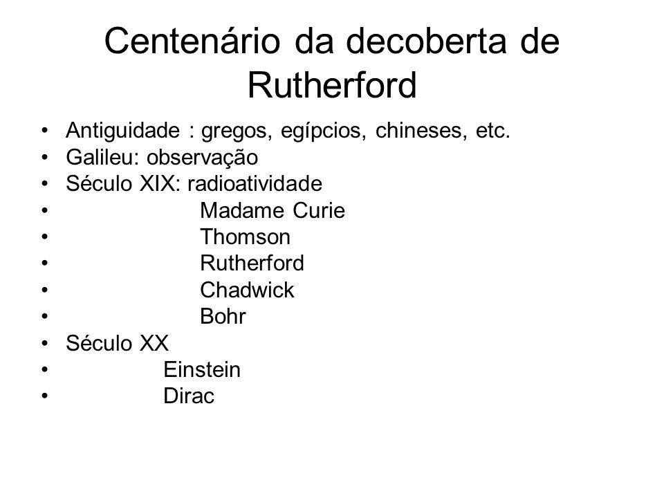 Centenário da decoberta de Rutherford