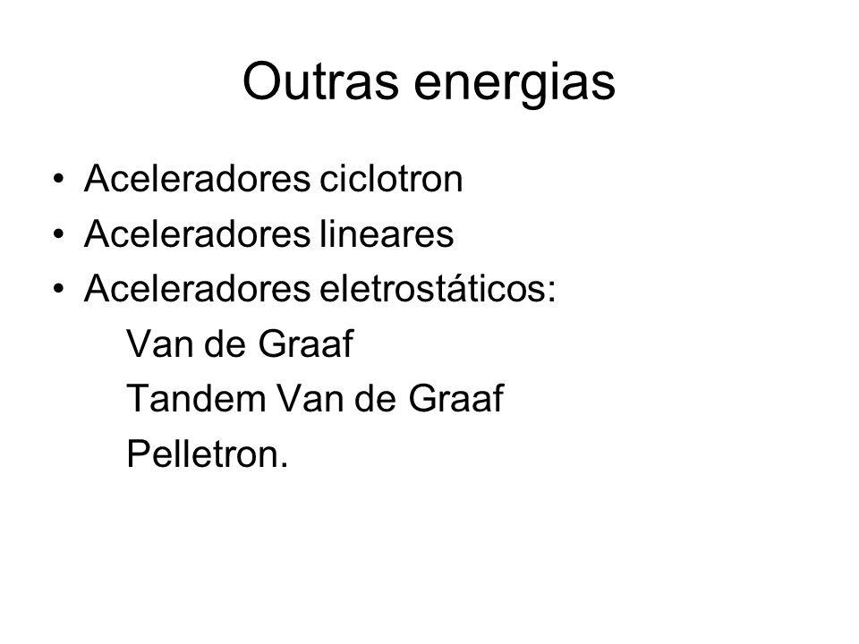 Outras energias Aceleradores ciclotron Aceleradores lineares