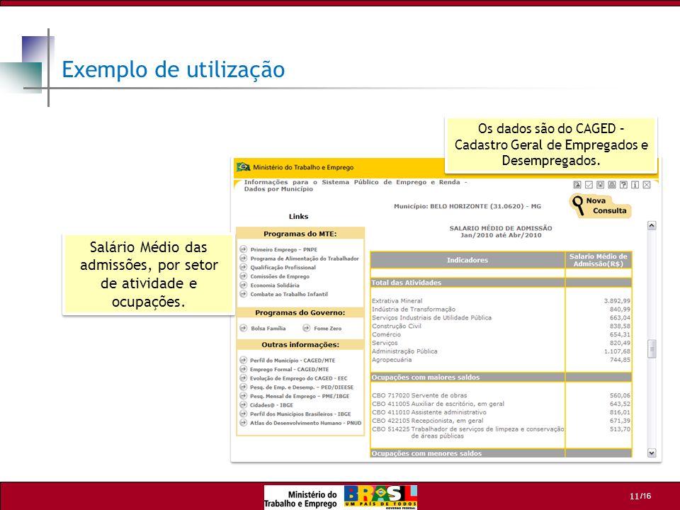 Exemplo de utilização Os dados são do CAGED – Cadastro Geral de Empregados e Desempregados.