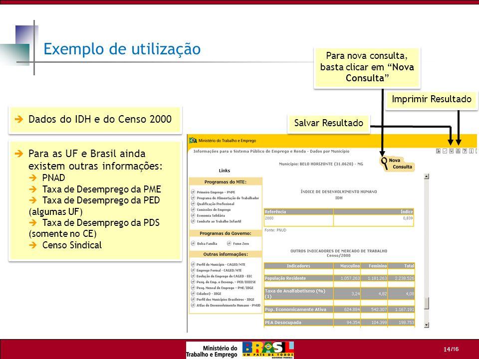 Exemplo de utilização Dados do IDH e do Censo 2000