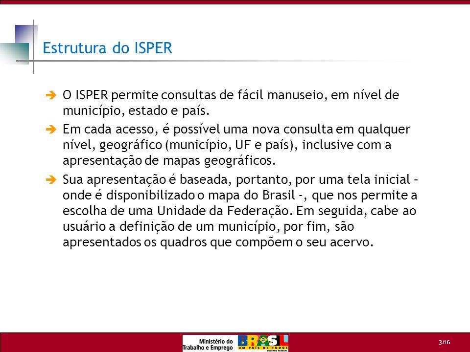 Estrutura do ISPER O ISPER permite consultas de fácil manuseio, em nível de município, estado e país.