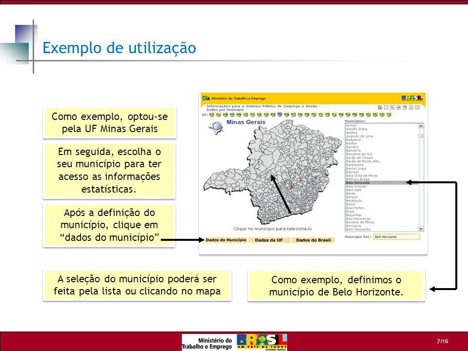 Exemplo de utilização Como exemplo, optou-se pela UF Minas Gerais
