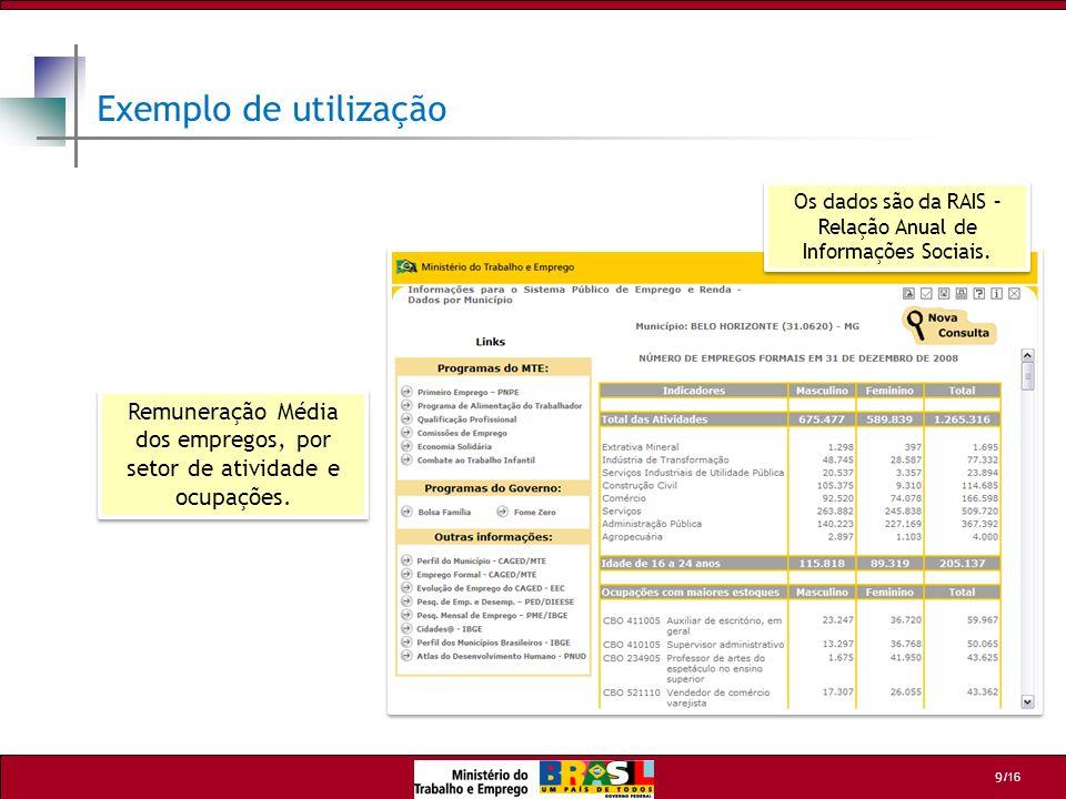 Exemplo de utilização Os dados são da RAIS – Relação Anual de Informações Sociais.