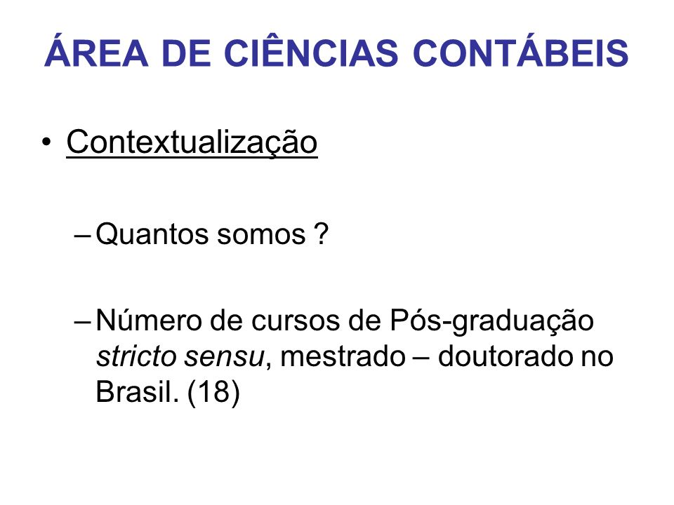 ÁREA DE CIÊNCIAS CONTÁBEIS
