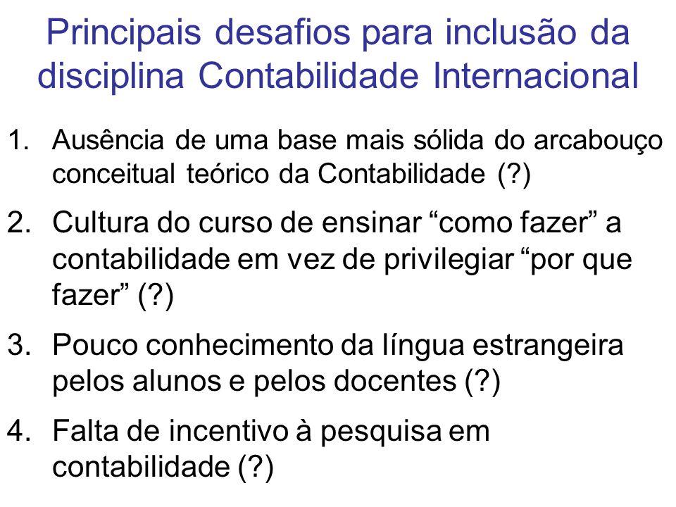 Principais desafios para inclusão da disciplina Contabilidade Internacional