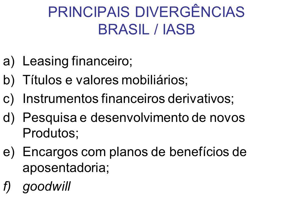 PRINCIPAIS DIVERGÊNCIAS BRASIL / IASB