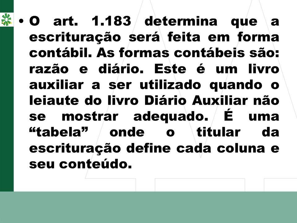 O art. 1.183 determina que a escrituração será feita em forma contábil.