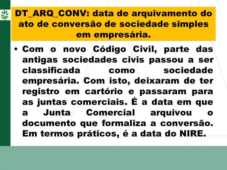 DT_ARQ_CONV: data de arquivamento do ato de conversão de sociedade simples em empresária.