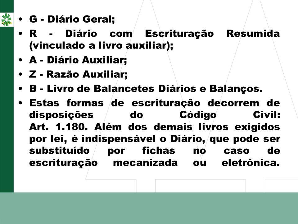 G - Diário Geral; R - Diário com Escrituração Resumida (vinculado a livro auxiliar); A - Diário Auxiliar;