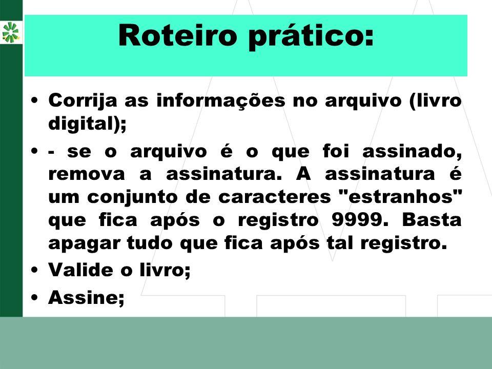 Roteiro prático: Corrija as informações no arquivo (livro digital);