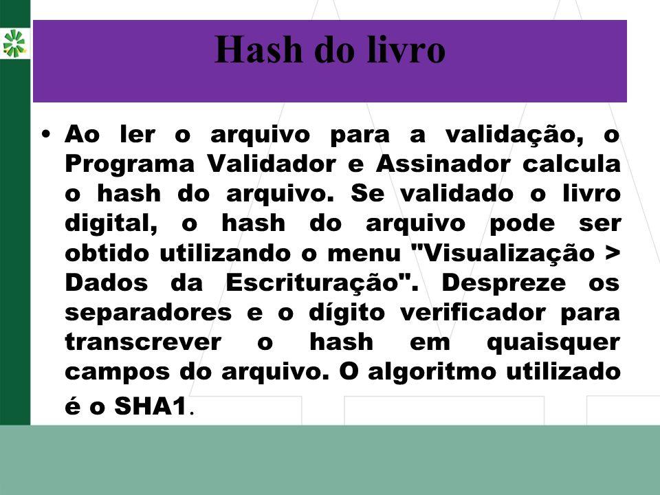 Hash do livro