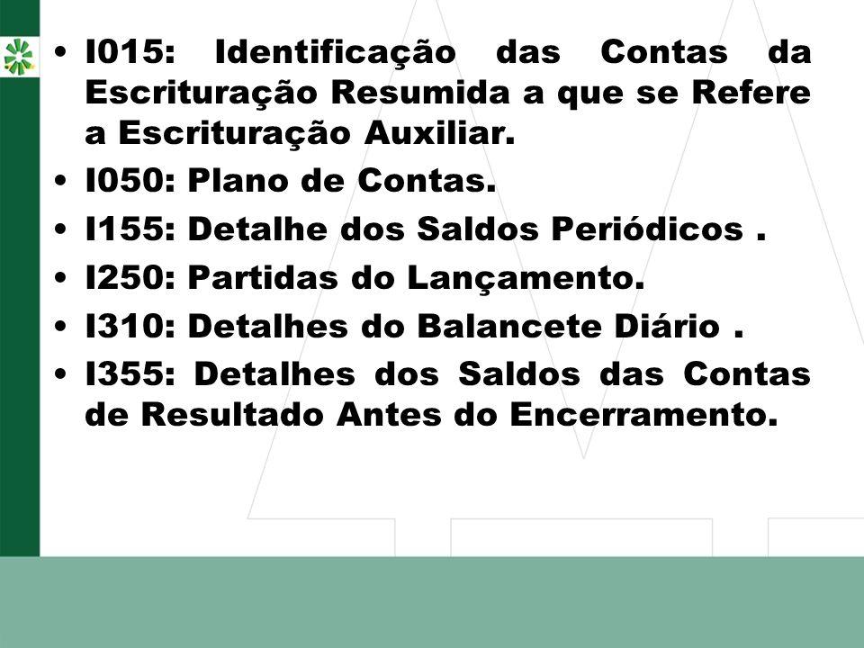 I015: Identificação das Contas da Escrituração Resumida a que se Refere a Escrituração Auxiliar.