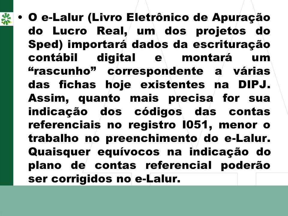 O e-Lalur (Livro Eletrônico de Apuração do Lucro Real, um dos projetos do Sped) importará dados da escrituração contábil digital e montará um rascunho correspondente a várias das fichas hoje existentes na DIPJ.
