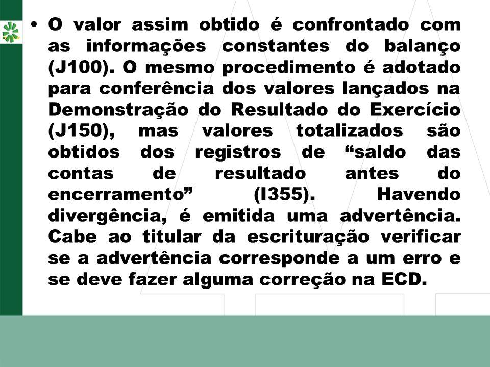 O valor assim obtido é confrontado com as informações constantes do balanço (J100).