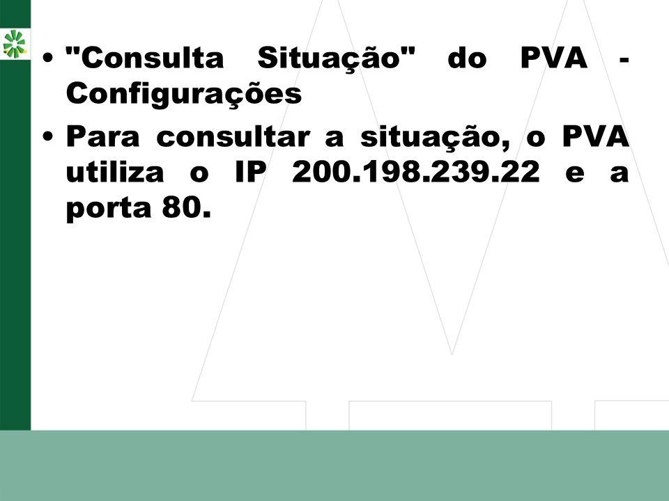 Consulta Situação do PVA - Configurações