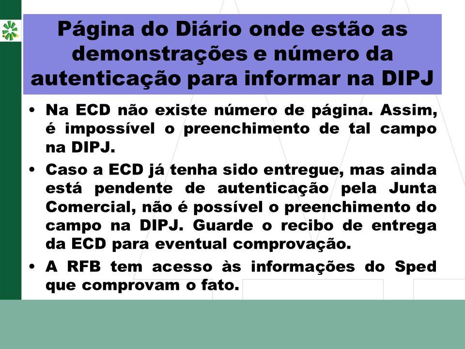 Página do Diário onde estão as demonstrações e número da autenticação para informar na DIPJ