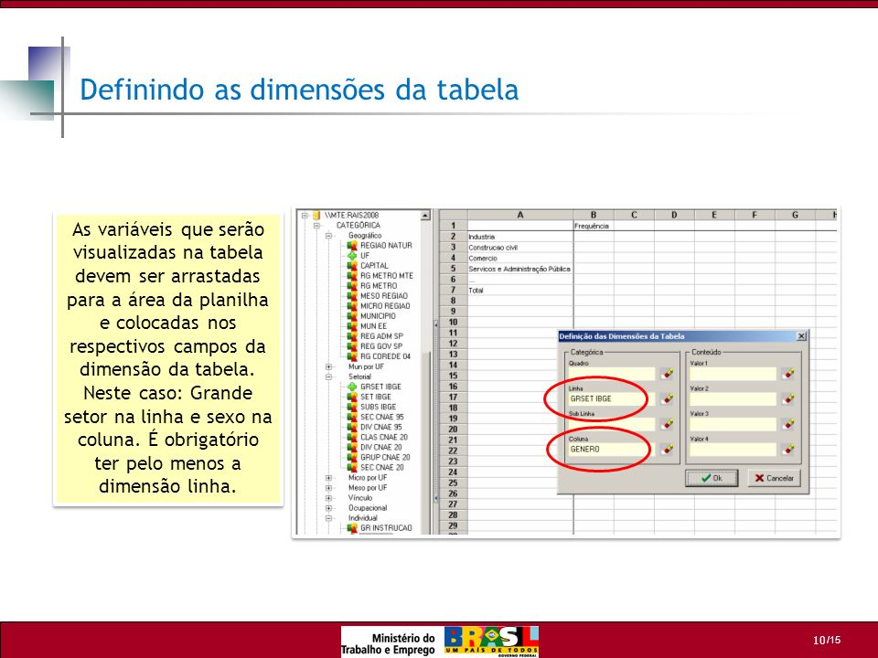 Definindo as dimensões da tabela