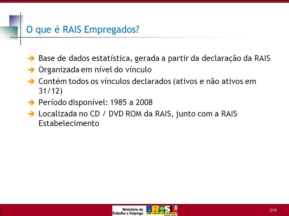 O que é RAIS Empregados Base de dados estatística, gerada a partir da declaração da RAIS. Organizada em nível do vínculo.