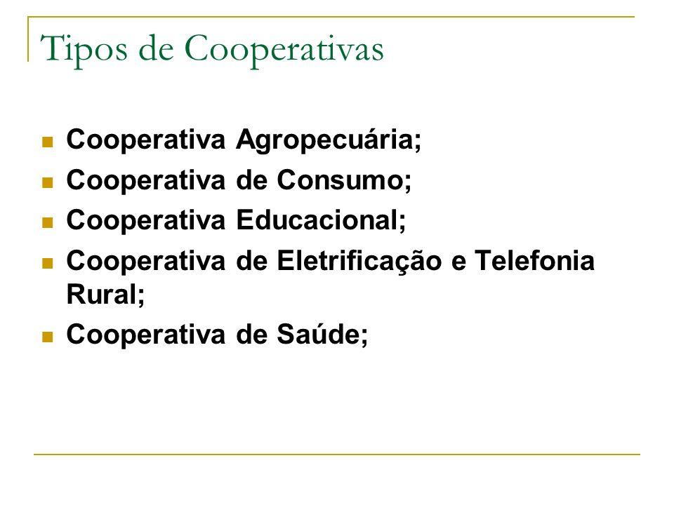 Tipos de Cooperativas Cooperativa Agropecuária;