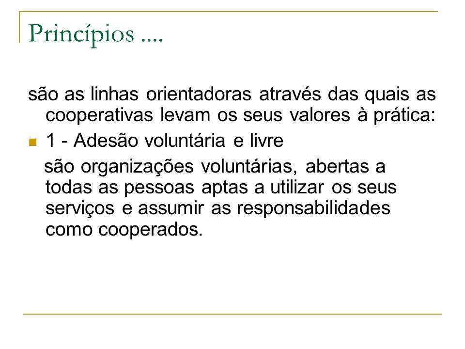 Princípios .... são as linhas orientadoras através das quais as cooperativas levam os seus valores à prática: