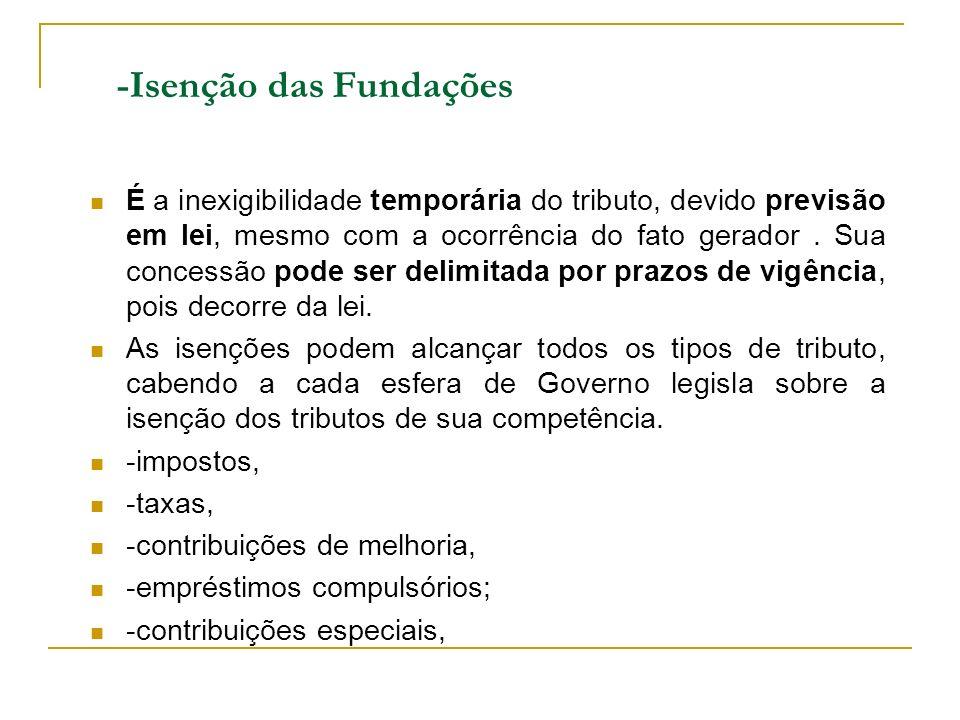 -Isenção das Fundações