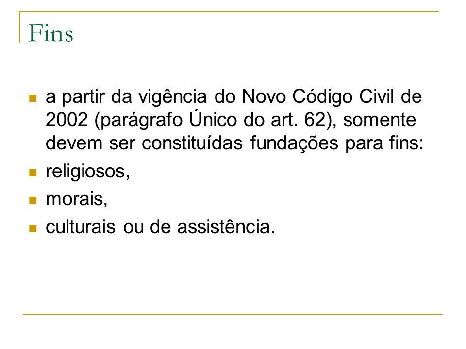 Fins a partir da vigência do Novo Código Civil de 2002 (parágrafo Único do art. 62), somente devem ser constituídas fundações para fins: