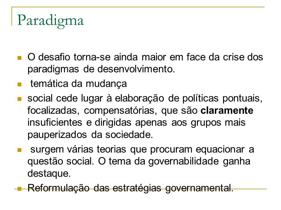 Paradigma O desafio torna-se ainda maior em face da crise dos paradigmas de desenvolvimento. temática da mudança.