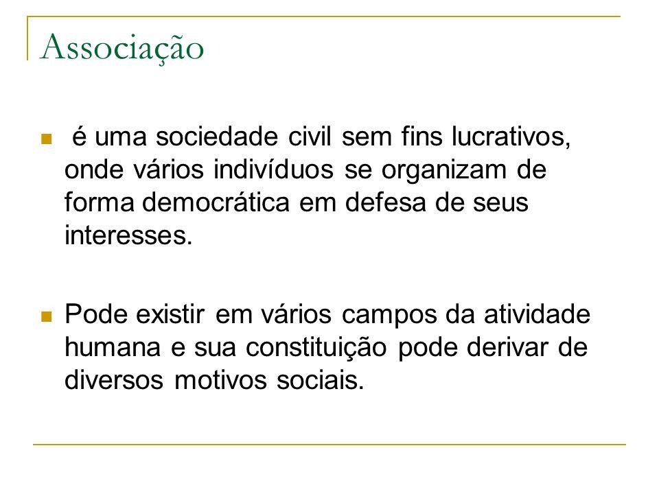 Associação é uma sociedade civil sem fins lucrativos, onde vários indivíduos se organizam de forma democrática em defesa de seus interesses.