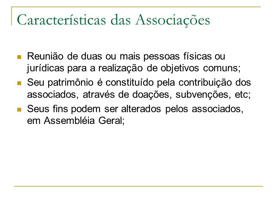 Características das Associações