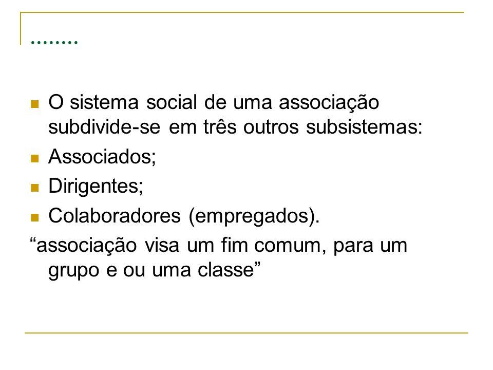 ........ O sistema social de uma associação subdivide-se em três outros subsistemas: Associados; Dirigentes;