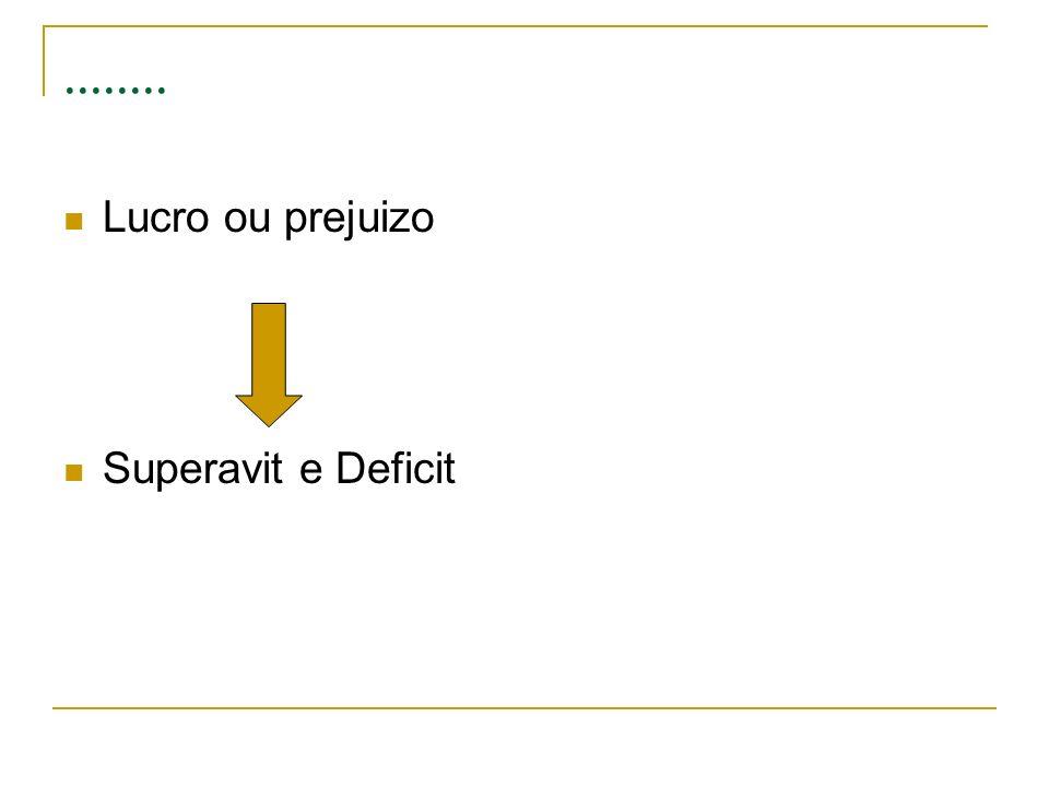 ........ Lucro ou prejuizo Superavit e Deficit