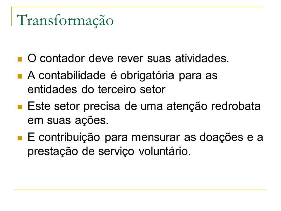 Transformação O contador deve rever suas atividades.