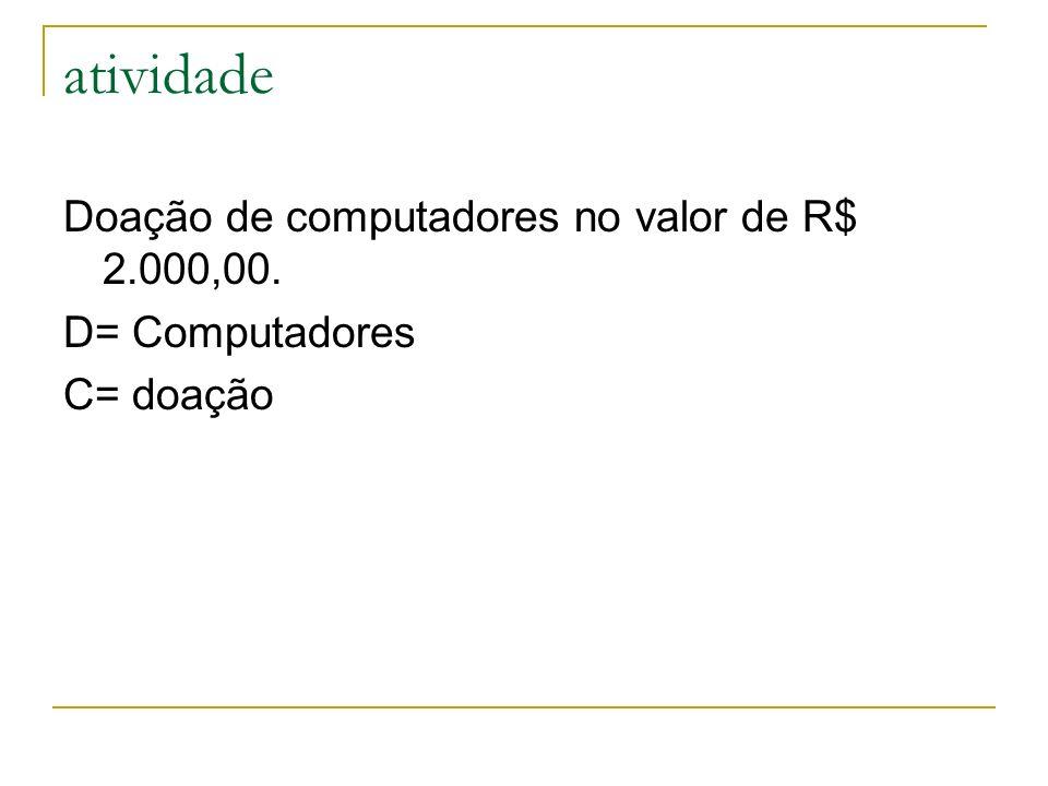 atividade Doação de computadores no valor de R$ 2.000,00.
