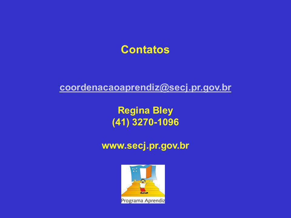 Contatos coordenacaoaprendiz@secj.pr.gov.br Regina Bley (41) 3270-1096