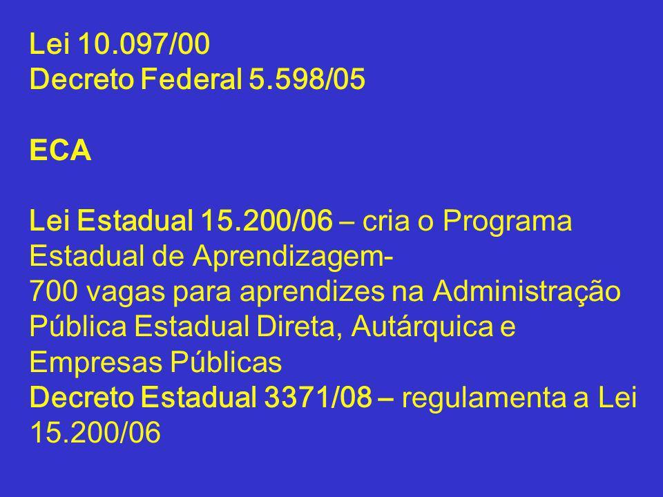 Lei 10.097/00 Decreto Federal 5.598/05. ECA. Lei Estadual 15.200/06 – cria o Programa Estadual de Aprendizagem-