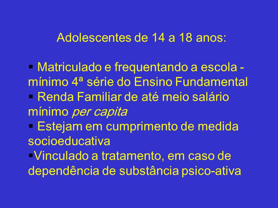 Adolescentes de 14 a 18 anos: