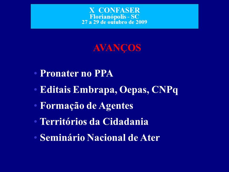 AVANÇOSPronater no PPA. Editais Embrapa, Oepas, CNPq. Formação de Agentes. Territórios da Cidadania.