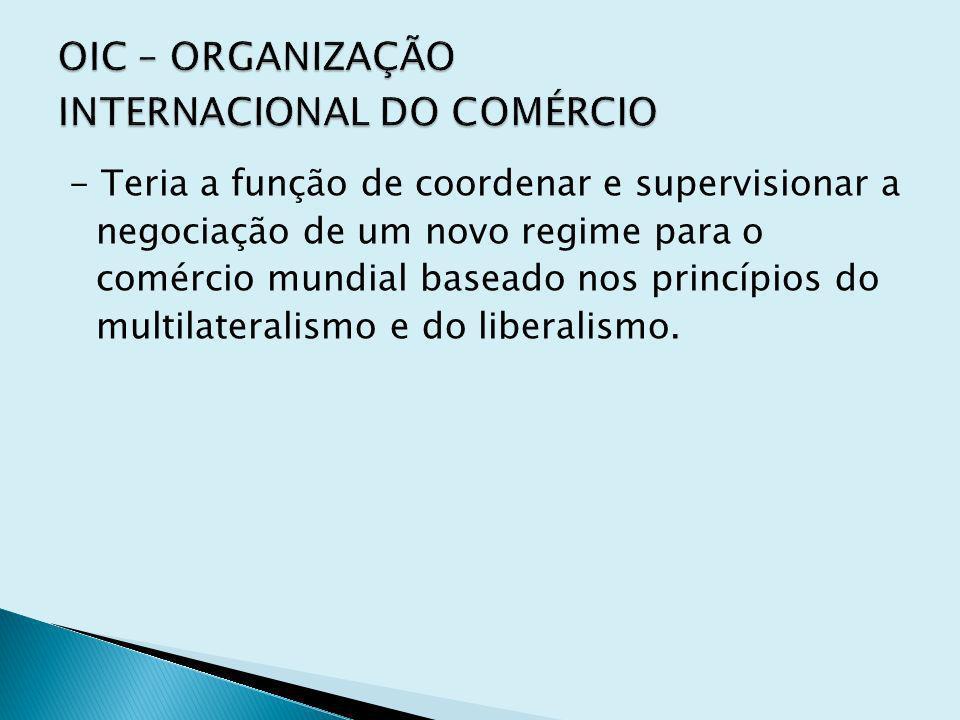 OIC – ORGANIZAÇÃO INTERNACIONAL DO COMÉRCIO