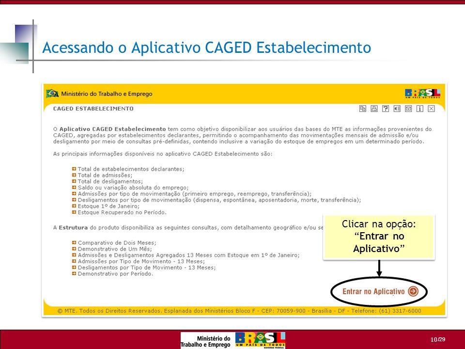 Acessando o Aplicativo CAGED Estabelecimento